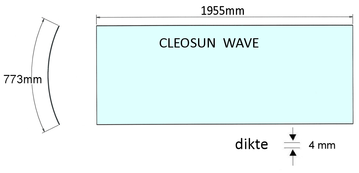 Acrylplaat Cleosun Wave bank 1955mm